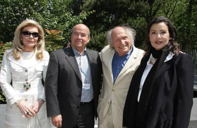 Patrick Baudry, Ivry Gitlis, Princess Lalla Meryem at the Annual Meeting of Goodwill Ambassadors of UNESCO in Paris.