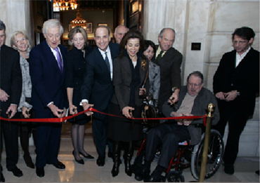 Lionel Pincus and Princess Firyal at the ribbon cutting ceremony for the Lionel Pincus and Princess Firyal Map Division of the New York Public Library