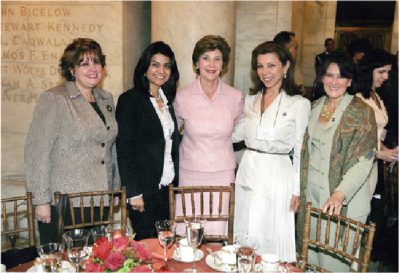 Princess Firyal with First Lady Laura Bush at a Literacy Decade Event at the New York Public Library