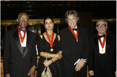 The 2007 Library Lions honorees: John Hope Franklin, Jhumpa Lahari, Tom Stoppard, and Marting Scorsese